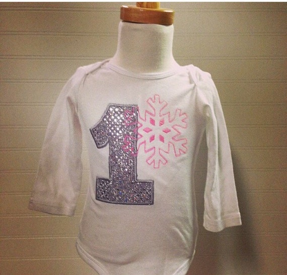 Winter onederland Girls pink snowflake birthday shirt, 1 snowflake birthday onesie girl birthday shirt, pink sequin birthday embroidery