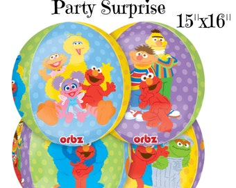 "Sesame Street Balloons Orbz 15""x16"" Big Bird Cookie Monster Grover Bert Ernie Kids Birthday Party Balloons Sesame Street Party Balloons"