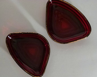 2  Anchor Hocking Royal Ruby Manhattan gold trimmed relish trays