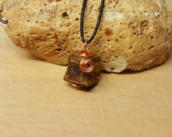 Mens Copper raw Tigers eye pendant. Unisex raw crystal necklace. Reiki jewelry uk. Capricorn jewelry. Wire wrapped pendant