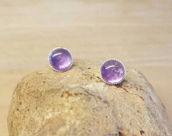 Sterling Silver purple Amethyst Stud earrings. Post earrings. Crystal Reiki jewelry uk. February birthstone