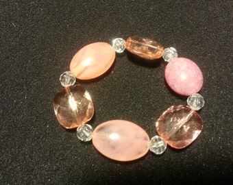 Pink & clear glass beads