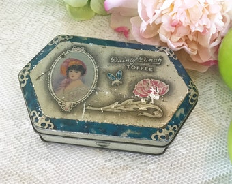 Lovely Antique Dainty Dinah Tin litho box, Vintage Advertising, Horner Toffee, floral dresser box, vanity, trinket, storage, Romantic, deco