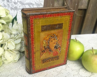 Stunning Antique Russian Imperial Book Shaped Decorative Tin Litho Box, Lady girl Woman, Parfumery Chiyctsubaki, Green, Red, Victorian