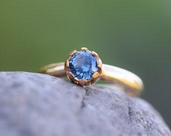 SPINEL engagement ring, blue spinel ring gold, rare gem, natural blue gemstone, sapphire alternative, one carat, spinel ring,