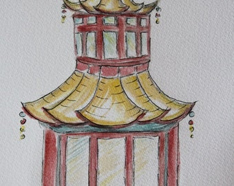 Set of 2 Hand painted Pagodas