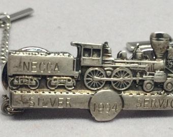 Vintage Train Pin Necca Silver Service 1994 Personalized Engraved Railroad Tie Tack