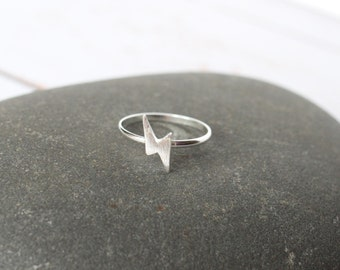 Lightening bolt/ Potter ring/ David Bowie ring/  silver plated stackable ring, silver jewellery