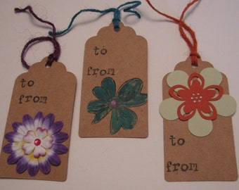Handmade Paper Gift Tag Assortment - Flower Assortment #5
