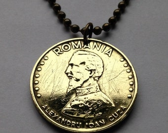 1992 Romania 50 Lei coin pendant  Romanian necklace jewelry Rumania Alexandru Ioan Cuza Prince Moldavia Wallachia Bucharest No.000778