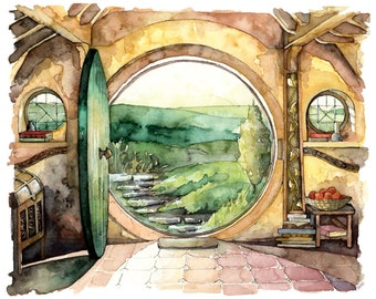 "Bag End Painting - Print from Original Watercolor Painting, ""In a Hole in the Ground"", Lord of the Rings, The Hobbit, The Shire, Hobbiton,"
