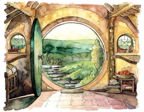 Bag End Painting Print From Original Watercolor Painting