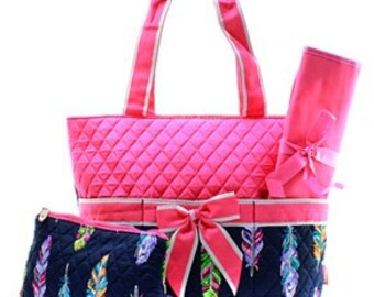 Quilted Feather 3pc Diaper Bag Set With free monogram