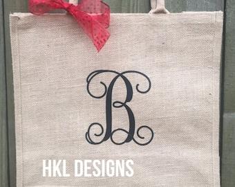 Monogram Burlap Tote Bag