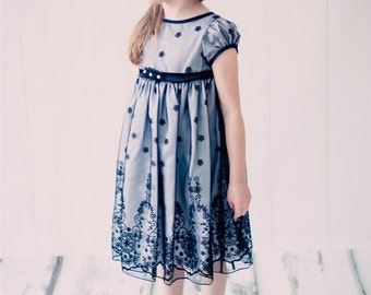 Embroidered Chiffon Flower Girl Dress