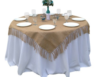 66 x 66 Inches - Rustic Tied-Fringe Burlap Table Topper/Overlay/Tablecloth- Country Wedding, Rustic Home Decor, Farmhouse Decor, Shabby Chic