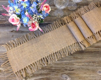 """Burlap Table Runner with Tied Fringe - Wedding Table Runner - 12"""" Width - Country Home Decor, Farmhouse Decor, Rustic Wedding, Rustic Home"""