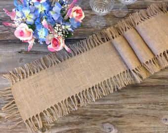 Farmhouse Table Runner, Burlap, Tied Fringe - Wedding Table Runner - Country Home Decor, Farmhouse Decor, Rustic Wedding, Rustic Decor