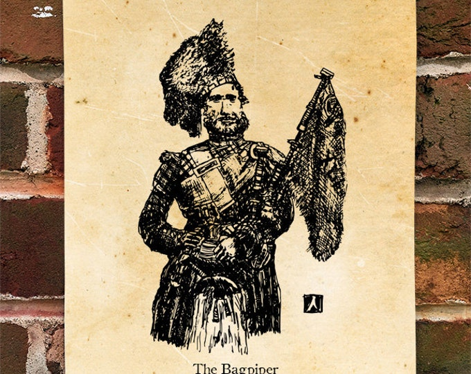"""KillerBeeMoto: Limited Hand Drawn Print of """"The Bagpiper"""" Print 1 of 100"""
