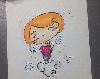 Little angel heart A6 original artwork (pink version)
