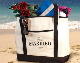 Just Married Personalized Tote, Married Tote, Canvas Tote