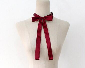 FREE SHIPPING,Wine ribbon tie,Wine neck tie for woman,wedding,Wine,Ribbontie,Skiny ribbon tie