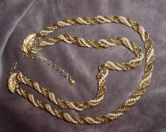 Gold and Pearl Twist Necklace