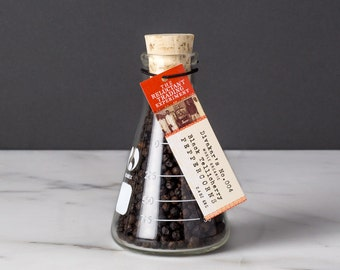 Small Tellicherry Peppercorns in Science Flask featuring Organic Whole, Black, Extra–Bold, Incredibly Aromatic Tellicherry Peppercorns