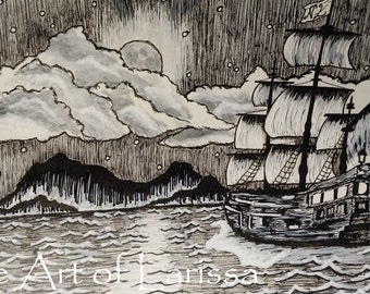 "Original ink drawing. Ink sketch. Neverland inspired sketch. 5.5"" x 8.5"""