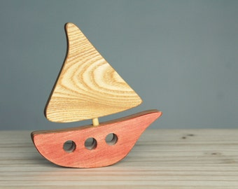 Wooden boat, wooden toy, baby's room decoration, ocean, sea