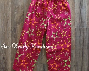Children's Flannel Lounge Pants - Hot Pink with Music Note Stars