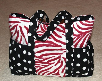 Large Tote Bag with Side Pockets - Raspberry Zebra with Black and white Polkadots