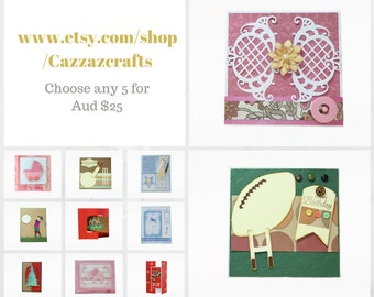 Choose any 5 Greeting Cards, greeting card set, Christmas card, Thank you card, Thinking of you card, birthday card, all occasions card