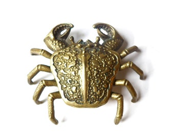 FRENCH VINTAGE 1950's Brass Crab Ashtray , Crab Figurine Collectible Trinket Box , Jewelry Case / Tray , Decorative , Collector , Unique