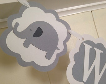 Elephant welcome baby banner/ Elephant baby shower banner/ baby shower