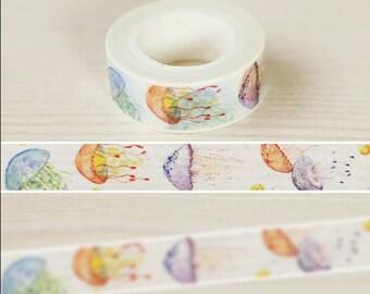 Jellyfish Washi Tape -- Japanese Washi Tape -Deco tape-- 15mm x10M