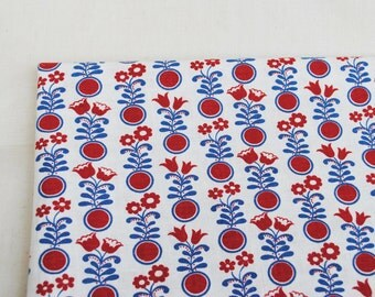 Vintage cotton fabric 2.5 yards with bright geometric round floral blue red modern print craft fabric in Scandinavian Style