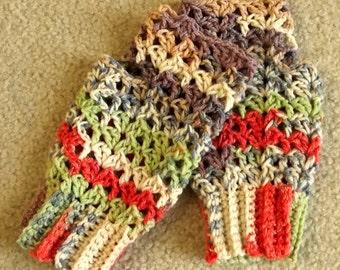 Crochet Fingerless Gloves Texting Gloves Lime Lavender Coral Cream Boho Shabby Chic Lacy