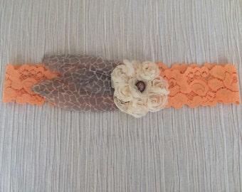 Fancy Frill & Printed Feathers Headband