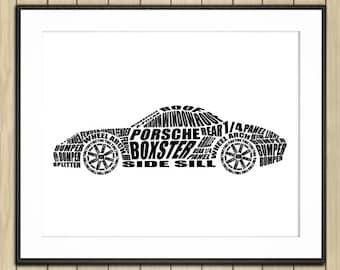 "Porsche Boxster decor, Automotive Art, Porsche Boxster Art, Porsche, Instant Download, Porsche Boxster, Porsche Decor, 8x10"", 14x11"", 16x20"""