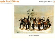 """50% Off Estate Sale Vintage Currier & Ives Print, The snow shoe Dance, Indians and Great Spirit, 11.25"""" x 8.75"""" or Matted to 11"""" x 14"""""""
