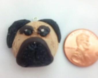 Pug polymer clay charm