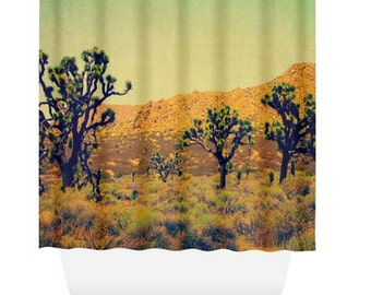 Art Shower Curtain, California Desert, Joshua Trees, Desert, Rustic, Shower Curtain, Polyester Shower Curtain, Bathroom Decor