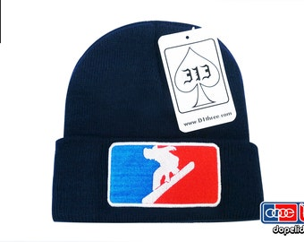 "D13 ""Major League Snowboarder"" Navy Blue Snowboarding Beanie Skully by dopelids headwear Hip Hop DJ"