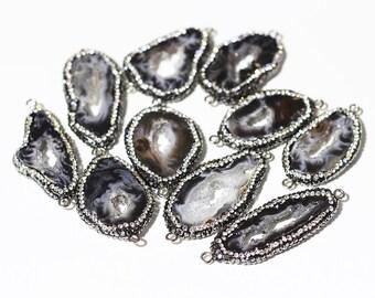 Black Agate Druzy Connectors -- Pave Cz Zircon Diamonds Wholesale Drusy Druzzy Druzy Connector Charms CQA-011