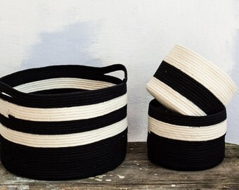 Storage basket, Rope basket, Striped basket, Black and white basket, Toys basket,
