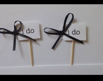 I Do Cupcake Wedding Favor Toppers Pick