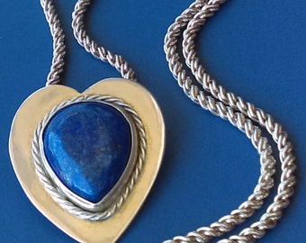 large handmade sterling silver Natural Lapis lazuli heart pendant