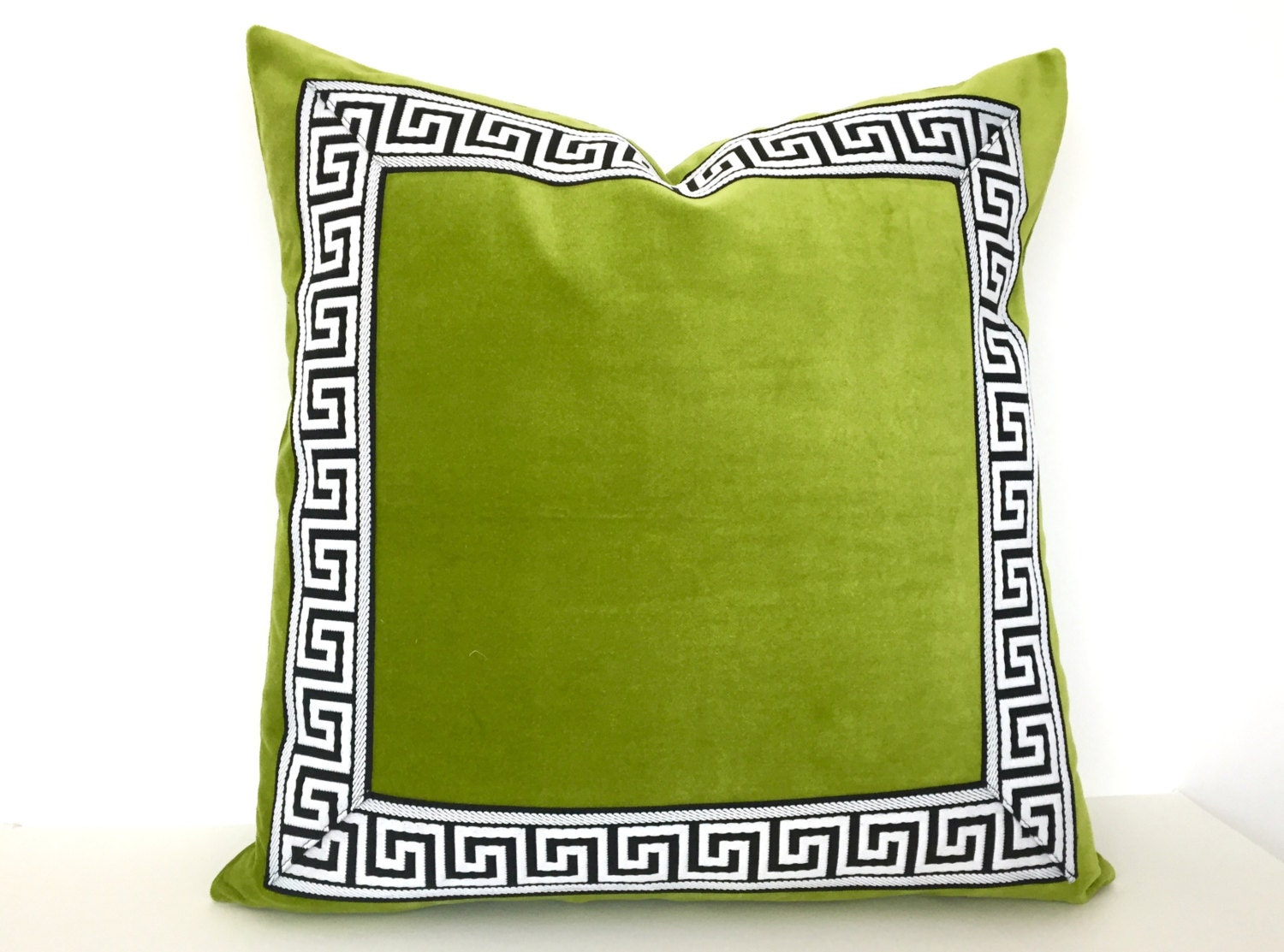 Throw Pillow Trim : Green Pillow Cover with Greek Key Trim Lime Green Velvet