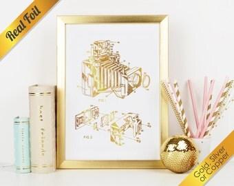 Camera Patent Real Foil Print (Gold, Silver, or Copper)